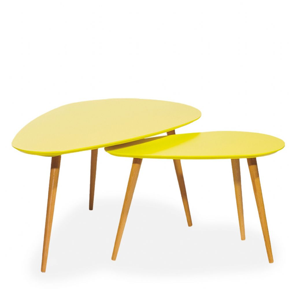 Petal Nest of Tables, Matte Yellow